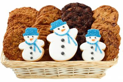 3 Snowmen Holiday Party Gift Basket