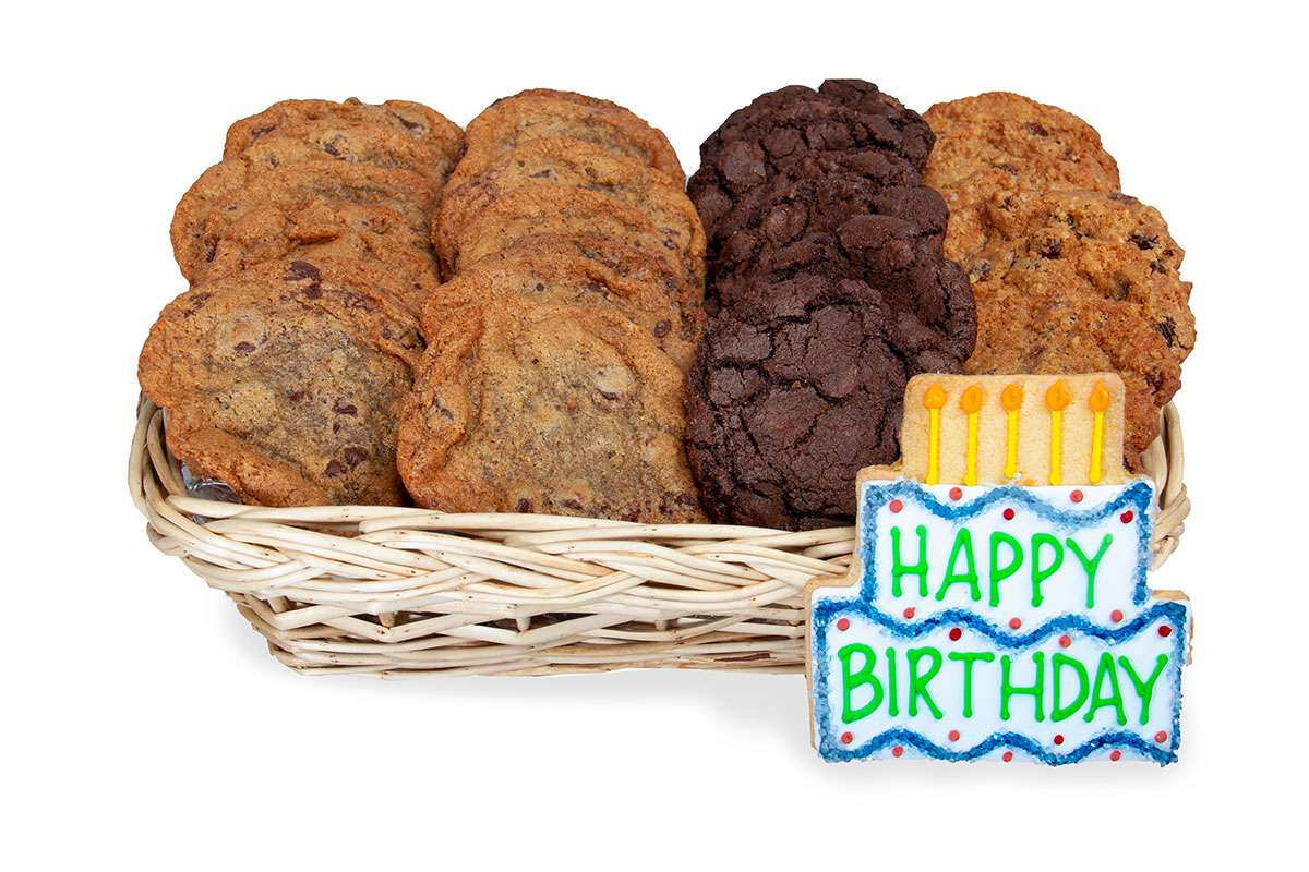 Happy birthday gift basket gift baskets cookie delivery oakville wish a happy birthday in oakville by sending gourmet cookies this unique birthday gift basket is hand delivered in oakville negle Images